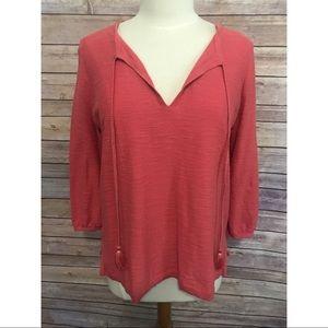 Ann Taylor Loft pink cotton tassel tie knit blouse